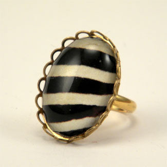 The White Stripes Zebra Petite Ring