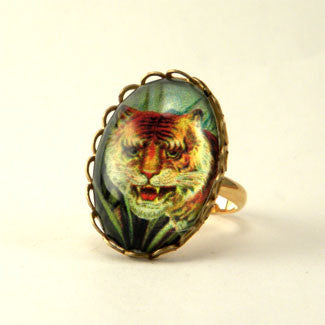 I of the Tiger - Full Color Tiger Image Petite Ring