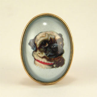 Clyde The Handsome Pug Classic Pet Portrait Brooch