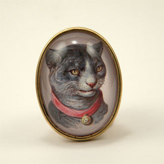 Fancy Feline Deluxe Colorful Classic Cat Illustration Brooch