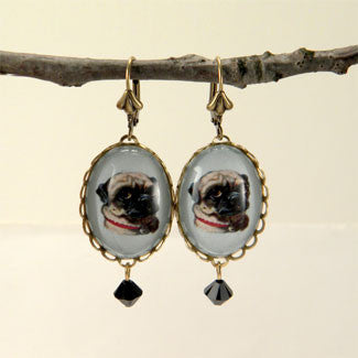 Clyde The Handsome Pug Classic Pet Portrait Earrings