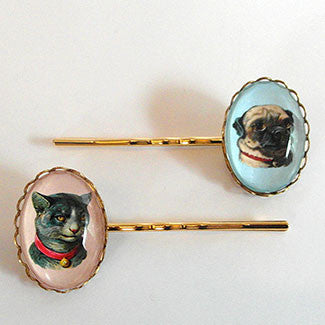 Clyde The Handsome Pug Classic Pet Portrait Hair Pin Set