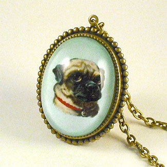 Clyde The Handsome Pug Classic Pet Portrait Pendant Necklace