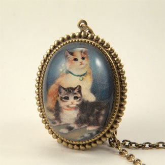 Hello Kitties Deluxe Cat Portrait Pendant Necklace