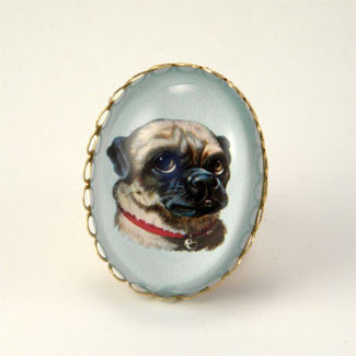 Clyde The Handsome Pug Classic Pet Portrait Cocktail Ring