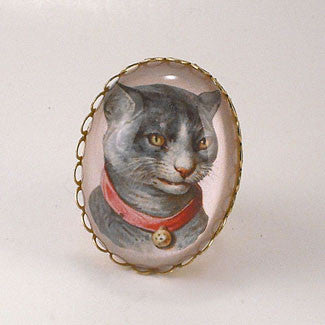 Fancy Feline Deluxe Colorful Classic Cat Illustration Cocktail Ring