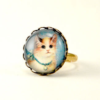 Copy of Little Kitties Ring and Earring Set - Cute Colorful Cat Petite Ring