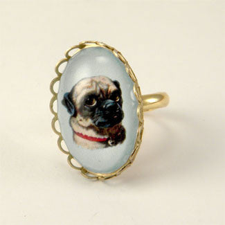 Clyde The Handsome Pug Classic Pet Portrait Petite Ring
