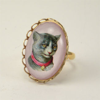 Fancy Feline Deluxe Colorful Classic Cat Illustration Petite Ring