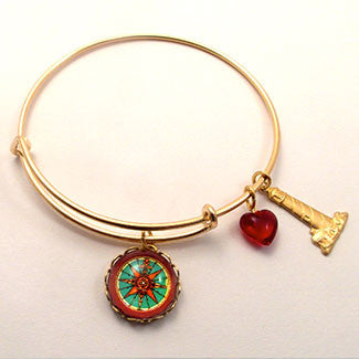 Compass Rose with Light House Charm and Red Heart Bead Bracelet