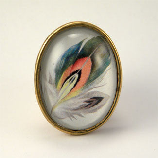 Ready To Take Flight - Multi Colored Feather Botanical Illustration Brooch