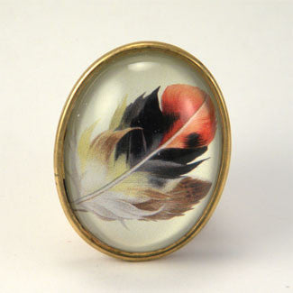 Light As A Feather - Feather with Browns, Reds and Tan Nature Illustration Brooch