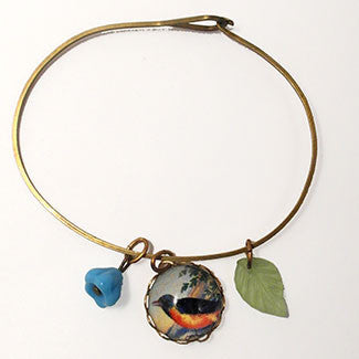 Robin, Leaf & Blue Bell Bead Bird Charm Jewelry