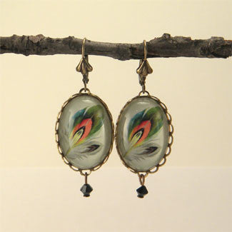 Ready To Take Flight - Multi Colored Feather Botanical Illustration Earrings