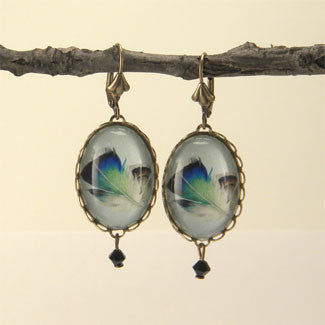 Birds Of A Feather - Blue Feather Earrings