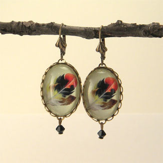 Light As A Feather - Feather with Browns, Reds and Tan Nature Illustration Earrings