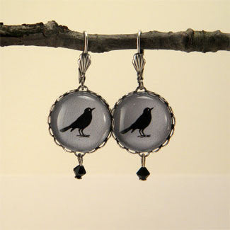 Rockin' Robin Round Silver Earrings - Bird Silhouette