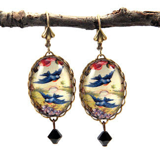 Free Bird - Blue Birds In Flight Earrings
