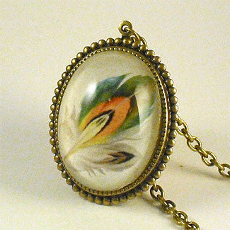 Ready To Take Flight - Multi Colored Feather Botanical Illustration Deluxe Pendant Necklace