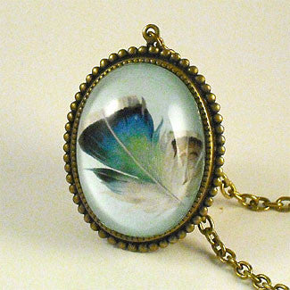 Birds Of A Feather - Blue Feather Pendant Necklace