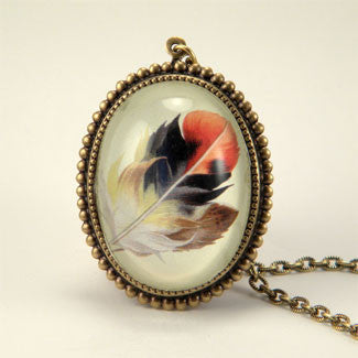 Light As A Feather - Feather with Browns, Reds and Tan Nature Illustration Deluxe Pendant Necklace