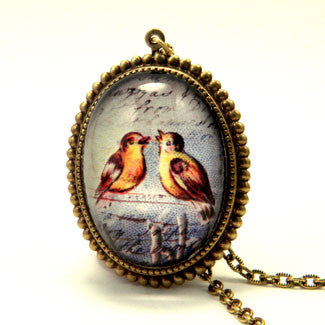 Love Birds A Pair of Singing Birds Pendant Necklace