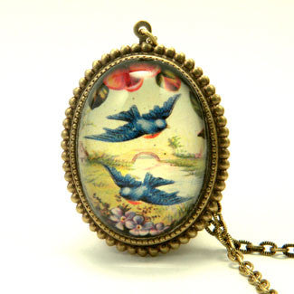 Free Bird - Blue Birds In Flight Pendant Necklace