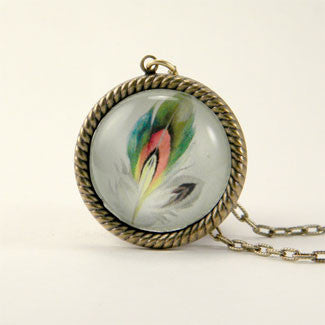 Ready To Take Flight - Multi Colored Feather Botanical Illustration Small Pendant Necklace