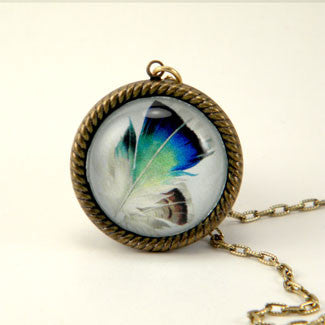 Birds Of A Feather - Blue Feather Jewelry 25mm Pendant Necklace