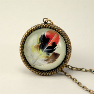 Light As A Feather - Feather with Browns, Reds and Tan Nature Illustration Small Necklace