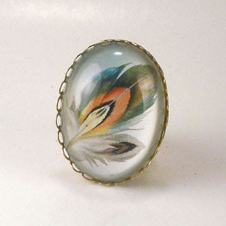 Ready To Take Flight - Multi Colored Feather Botanical Illustration Cocktail Ring