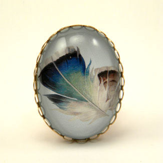 Birds Of A Feather - Blue Feather Cocktail Ring