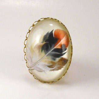 Light As A Feather - Feather with Browns, Reds and Tan Nature Illustration Cocktail Ring