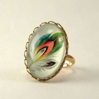 Ready To Take Flight - Multi Colored Feather Botanical Illustration Petite Ring