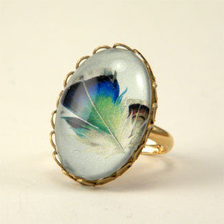 Birds Of A Feather - Blue Feather Petite Ring