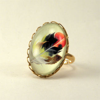 Light As A Feather - Feather with Browns, Reds and Tan Nature Illustration Petite Ring