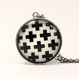 Geometrics Large Sterling Silver Plate Swiss Cross Pattern Necklace