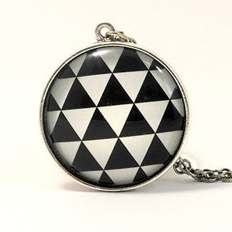 Geometrics Large Sterling Silver Plate Triangle Pattern Pattern Necklace