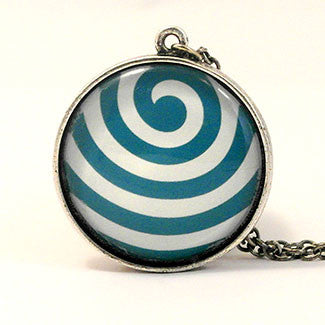 Geometrics Large Sterling Silver Plate Wave Pattern Necklace