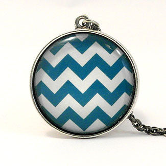 Geometrics Large Sterling Silver Plate Zig-Zag Pattern Necklace