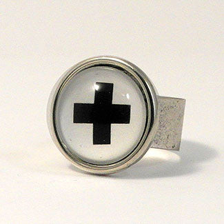 Geometrics - Sterling Silver Plate Swiss Cross Adjustable Ring
