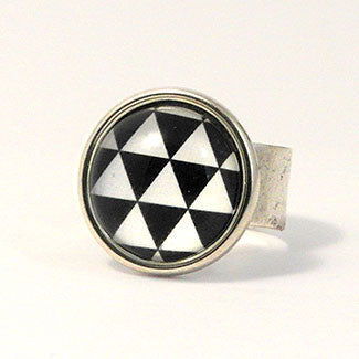 Geometrics - Sterling Silver Plate Triangle Pattern Adjustable Ring
