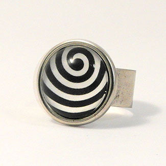 Geometrics - Sterling Silver Plate Swirling Wave Pattern Adjustable Ring