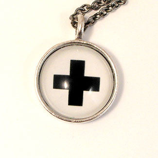 Geometrics - Small Sterling Silver Plate Swiss Cross Necklace