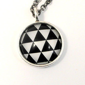 Geometrics - Small Sterling Silver Plate Triangle Pattern Necklace