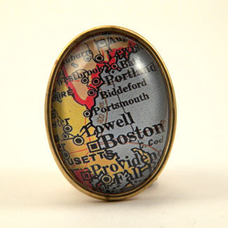 Old Boston Vintage Map Brooch