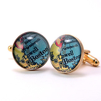 Old Boston Vintage Map Cufflinks