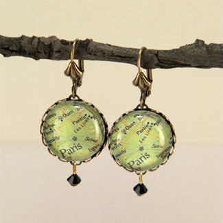 Paris Map Earrings