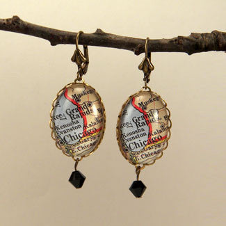 Old Chicago Vintage Map Earrings