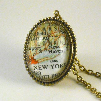 New York City Map Deluxe Pendant Necklace